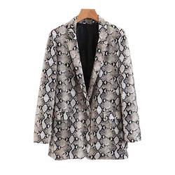 Для женщин Винтаж со змеиным принтом пиджак карманы Зубчатый воротник длинный рукав пальто Верхняя одежда 2018 модные женственные Топы