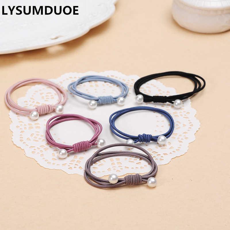 แฟชั่น 6 ชิ้น/ล็อตผู้หญิงสามผมยืดหยุ่นวงแหวนมุกเกาหลีเชือก Handmade Headband เครื่องประดับของขวัญสาวอุปกรณ์เสริมผม
