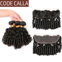 Code Calla Bouncy Curly Hair Bundles Brazilian Remy Human Hair Weave Extensions Bundles With 13*4 Lace Frontal Natural Black стоимость