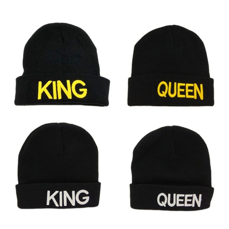Fashion Women Men Winter Warm Hat Letter KING QUEEN Print Couple Cap Soft Knitted Beanies Hats Unisex Casual Hats Accessories