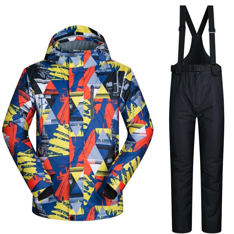 Men s Ski Suit Brands Windproof Waterproof Warm Thicken Ski Jackets and Snow Pants Sets Winter