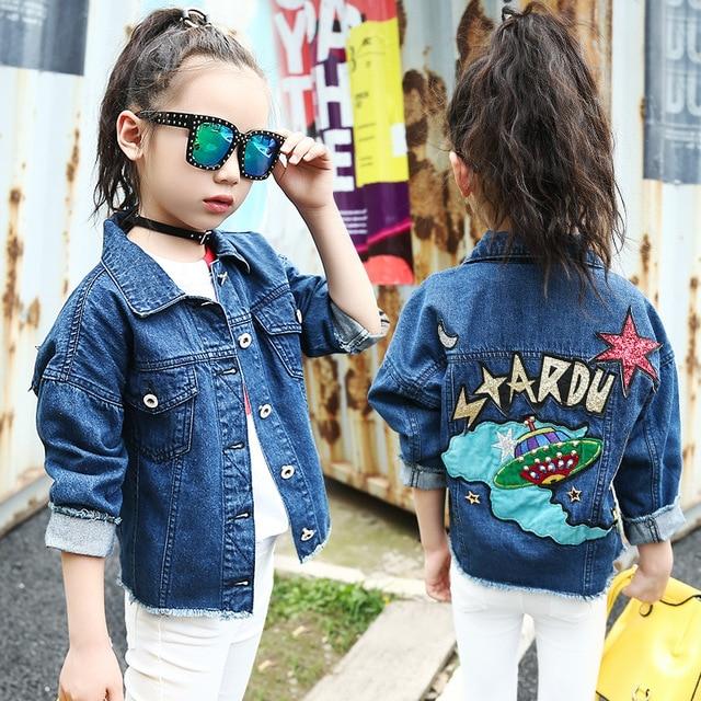 2b2dfed73 Niñas Denim Chaquetas Abrigos moda niños prendas de vestir exteriores de  dibujos animados Lentejuelas niños primavera