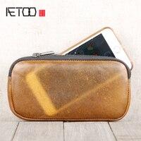 AETOO اليدوية شفافة رئيس جلد البقر الأفقي محفظة الهاتف المحمول حقيبة جلدية