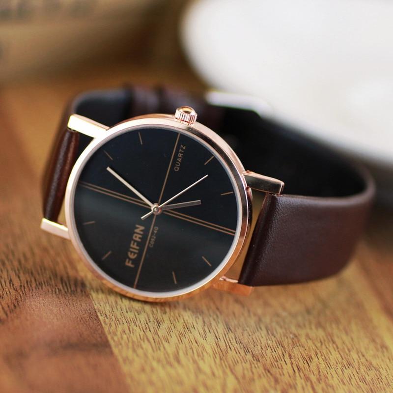 2016 Luxury Dress FEIFAN Rose Gold Japan Core Genuine Leather Quartz Watch Wristwatches for Women Girls