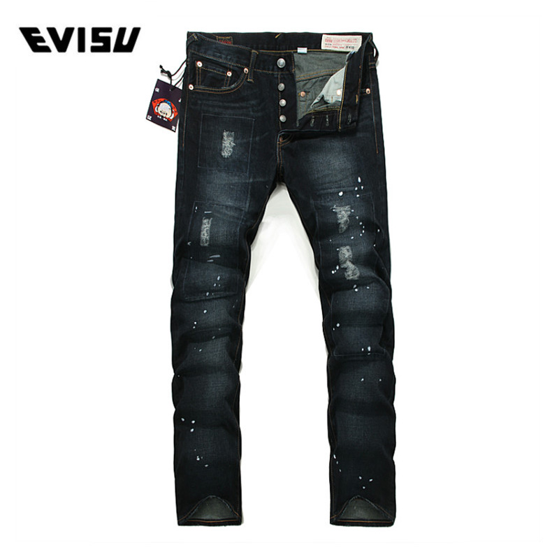 f2f6bb91bba6 Evisu 2018 Men hipster jeans Casual Fashion Trousers Zipper Men Pockets  Jeans Straight Long Classic Deep