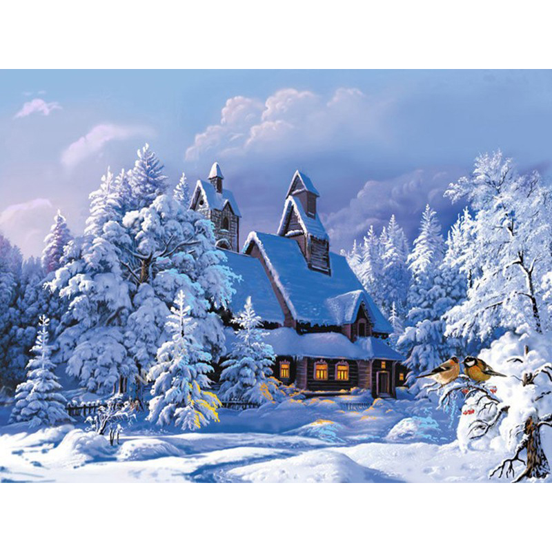 Frameless Christmas Snow House Landscape DIY Painting By Numbers Hand Painted Oil Painting For Living Room Wall Artwork 60x75cm