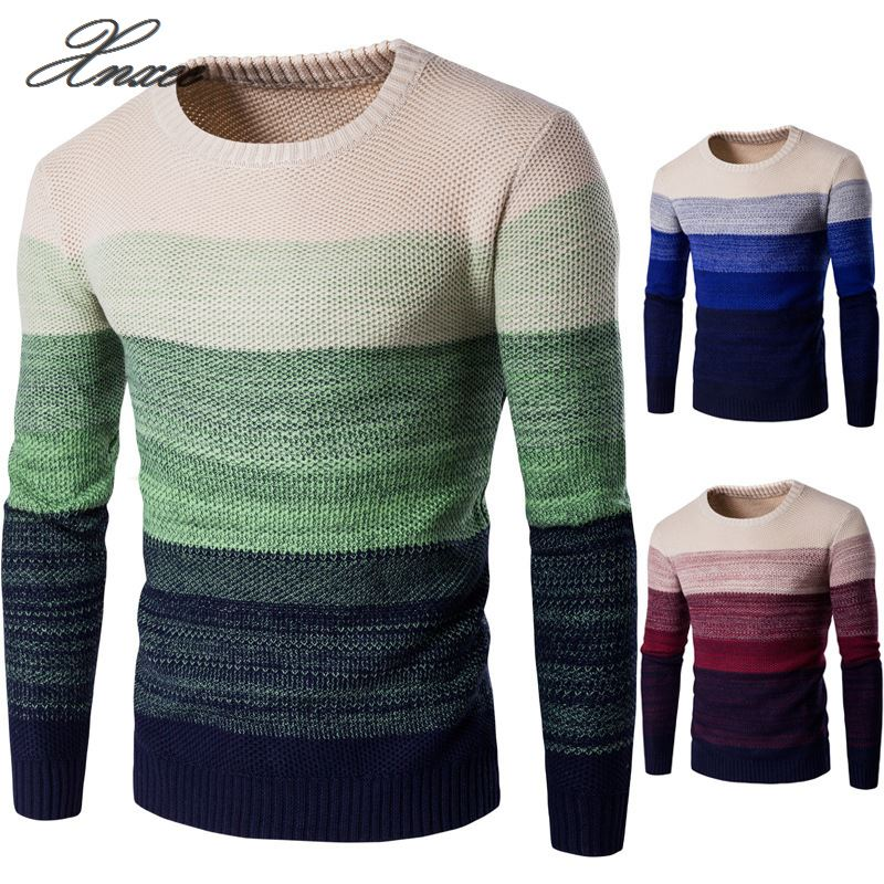 Casual Sweater O-Neck Striped Slim Fit Men Long Sleeve Patchwork Male Pollover Thin Clothes