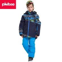 Зимняя верхняя одежда для мальчиков; детский лыжный костюм для мальчиков; очень теплая одежда; лыжная куртка для сноуборда+ брюки; ветрозащитная Водонепроницаемая зимняя одежда