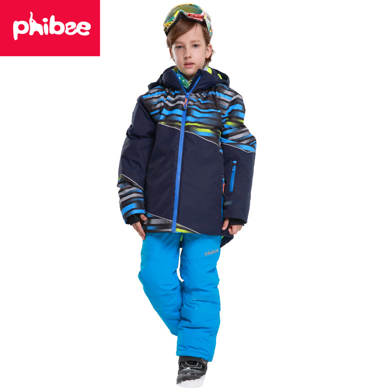 Boy Winter Outwear Kids Boys Ski Suit Super Warm Clothing Skiing Snowboard Jacket+Pants Suit Windproof Waterproof Winter Wear