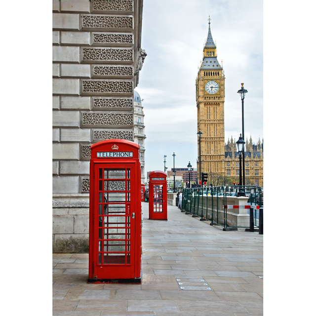 Seamless Vinyl Photography Background London Street Red Public Telephone Booth Printed Children Backdrops For Photo Studio