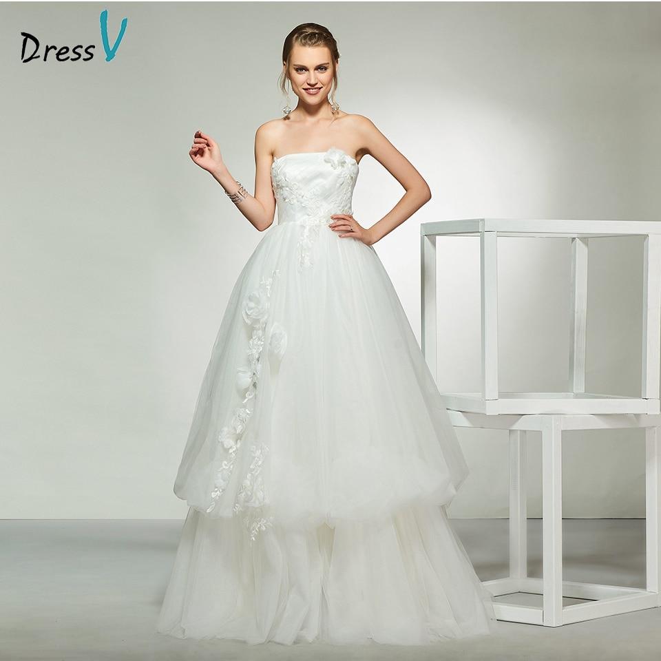 A Line Simple Wedding Dresses: Dressv Elegant Ivory Strapless A Line Sleeveless Backless
