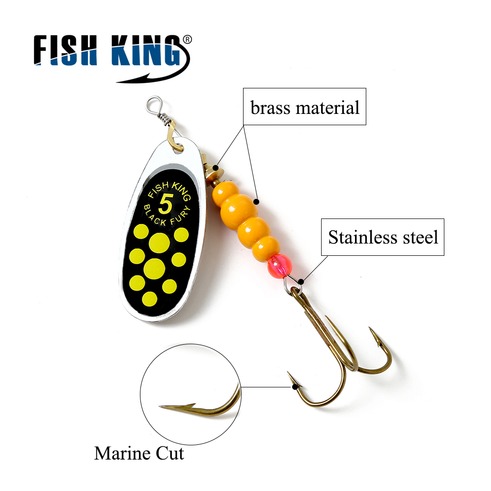 FISH KING 1PC Size0-Size5 Fishing Hard Lure Bait Leurre Peche Mepps Spoon Fishing Tackle Vissen Pesca Acesorios цена