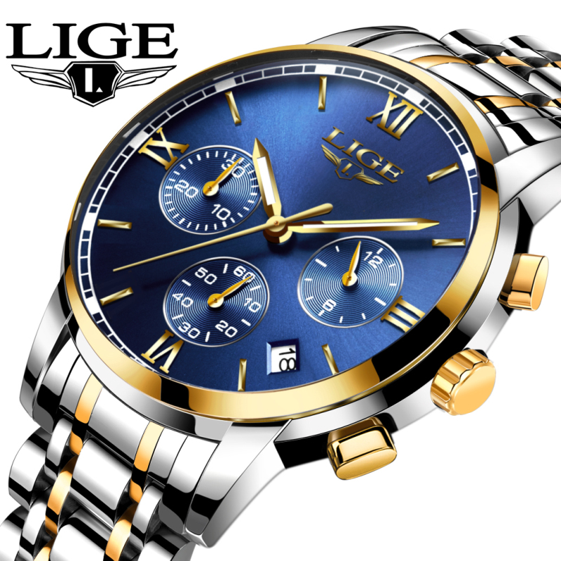 Watches Men <font><b>LIGE</b></font> Brand Men Chronograph Watches Men Sports Watches Waterproof Full Steel Quartz Men's Watch Relogio Masculino image