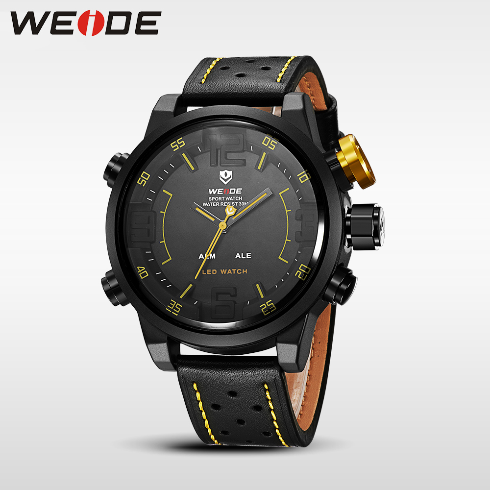 WEIDE men watches 2017 luxury brand Famous Brand Sports Watch Men Digital Quartz Alarm Time Leather Strap relogio automatico weide new men quartz casual watch army military sports watch waterproof back light men watches alarm clock multiple time zone