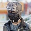 2016 Novos chapéus de pele de Inverno Ao Ar Livre À Prova de Vento de Espessura inverno quente botas de neve de Inverno das mulheres Dos Homens do tampão Chapéu Máscara de ciclismo dos homens chapéu