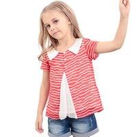 KAMIWA 2015 Summer Chiffon Girls Striped Shirt Female Child Short Sleeve O Neck Girls T Shirts