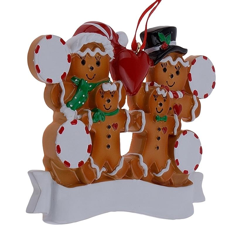 Groothandel peperkoek familie van 4 hars Kerst ornamenten met rode - Feestversiering en feestartikelen - Foto 6