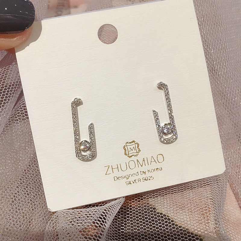 Exquisite Korean Style Geometric Stud Earrings White Gold Color Micro Paved Cubic Zircon Fashion Women Earrings(China)
