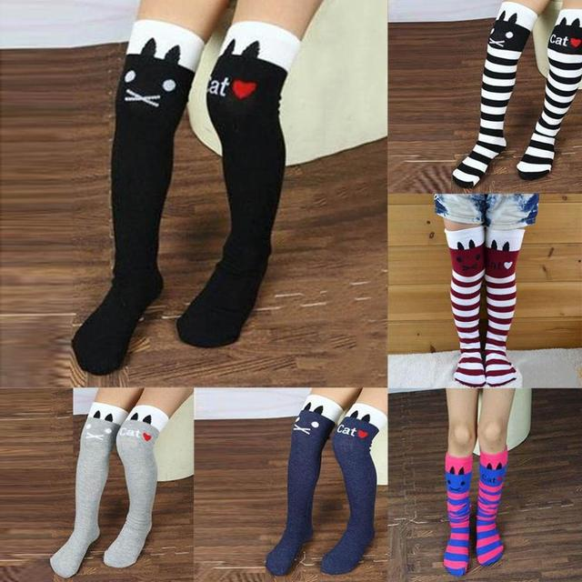 a0ca9da6ba2 Cotton Knee High Socks Children In tube Socks Striped knee girls Straight  Colorful Socks