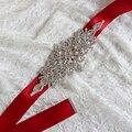 Magnífico Cristal rojo de Moda Nupcial de Lujo de Mujer Correa Floral Vestido de Las Mujeres Cinturones Waistband Faja Diadema de Diamantes para La Boda