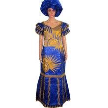 Шарфом riche африканский базен длинное длина вышивка одежды дизайн платья платье