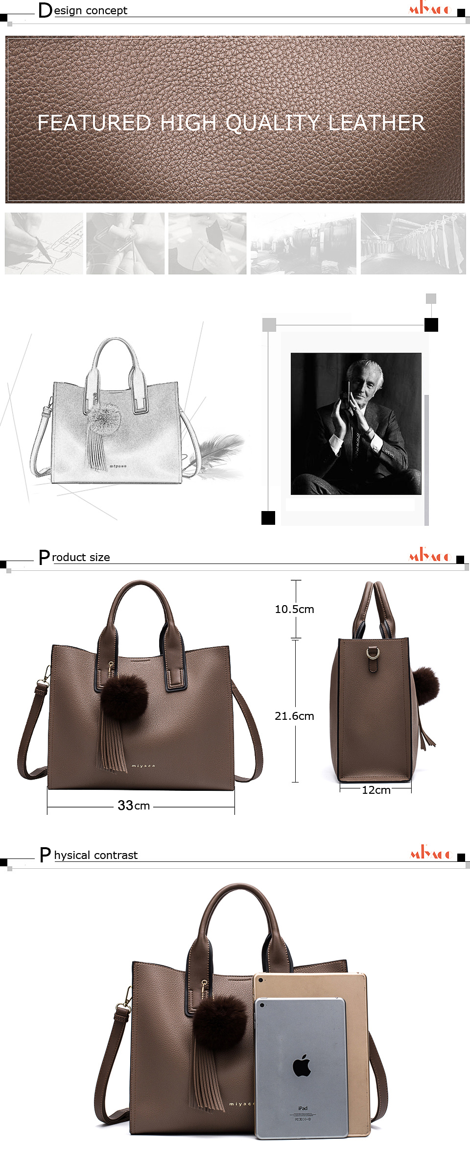 Miyaco Women Leather Handbags Casual Brown Tote bags Crossbody Bag TOP-handle bag With Tassel and fluffy ball 13