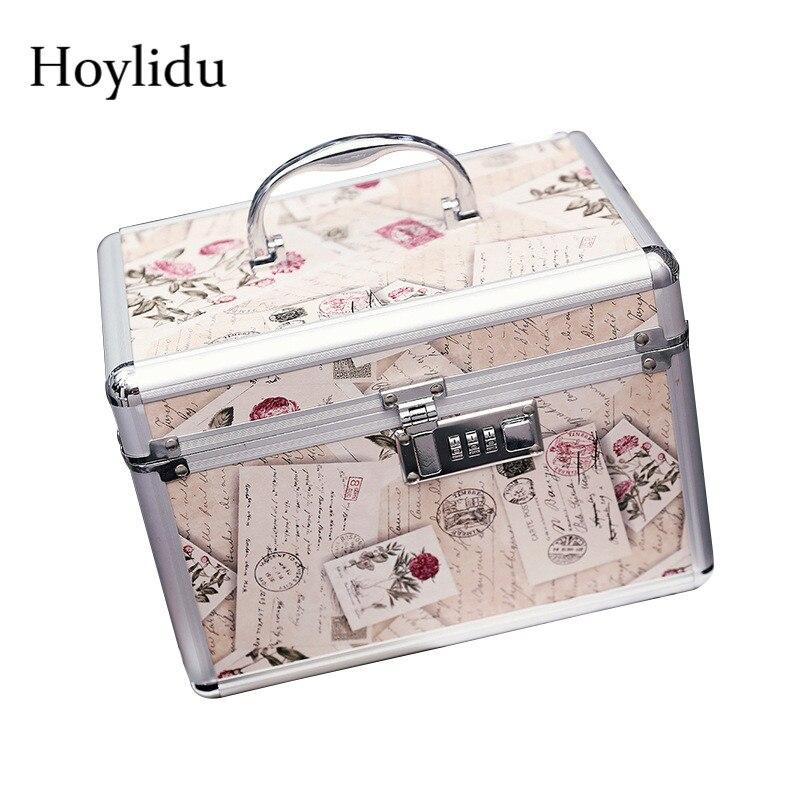 Password Lock Women Makeup Cosmetic Case Professional Aluminium Alloy Make Up Box Large Capacity Female Anti-theft Jewelry Box