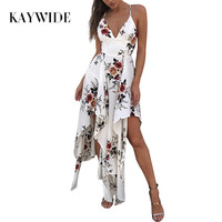KAYWIDE 2017 Women Dresses Series Spring Fashion Beach Casual Style Summer Floral Printed Maxi Dress For