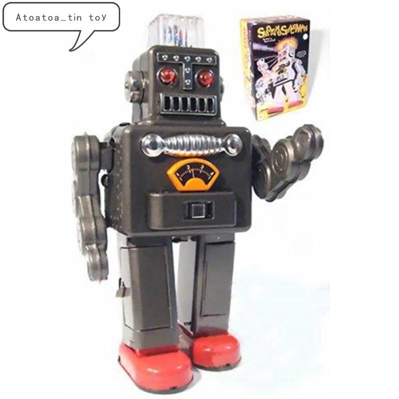 Collection Vintage Rabot modèle étain jouets classique horloge liquidation électrique spray robot étain jouet pour adulte enfants à collectionner cadeau