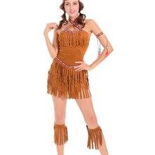 M-XL, сексуальный женский костюм с бахромой, индейцы, принцесса диких лесов, охотник, костюм для косплея, для вечеринки на Хэллоуин, нарядное платье