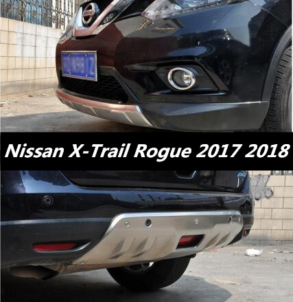 2PCS Stainless steel Front + Rear Bumper Protector Guard Skid Plate For 17 18 Nissan X-Trail XTrail Rogue 2017 2018 by EMS rogue stainless steel rear bumper protector sill trunk guard cover trim for 2014 2016 nissan x trail x trail t32 car accessories