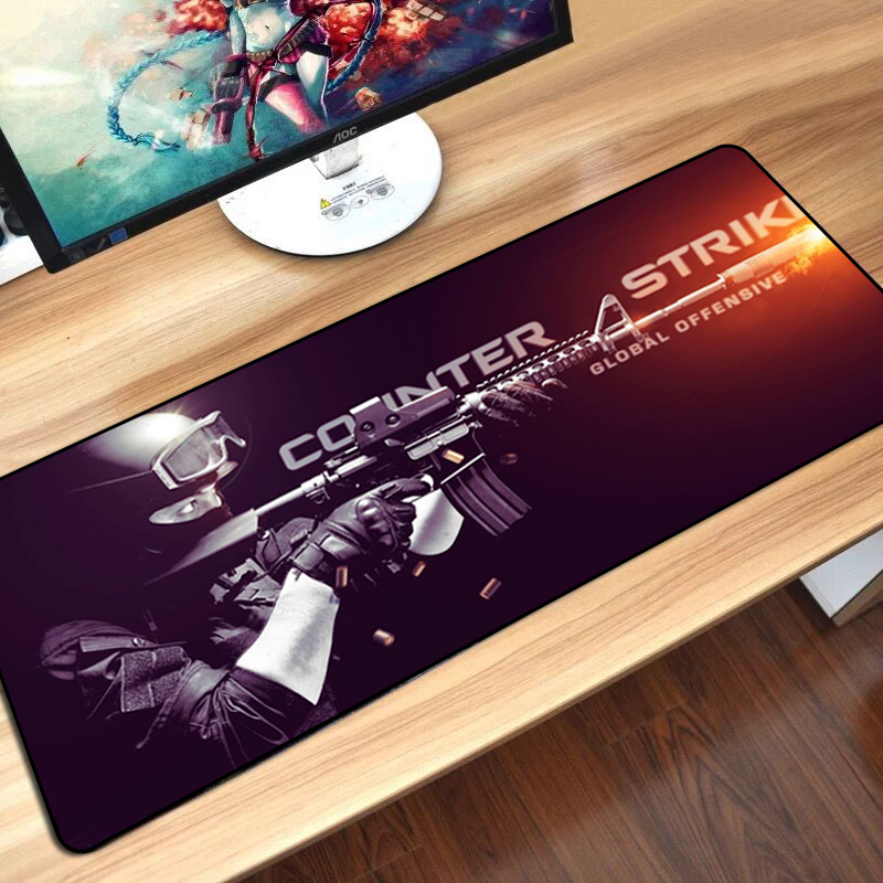 MousePad CS GO Print Overlock Edge PC Computer Gaming Mouse Pad XXL Rubber Mat For League of Legends Dota 2 for Boyfriend Gifts image