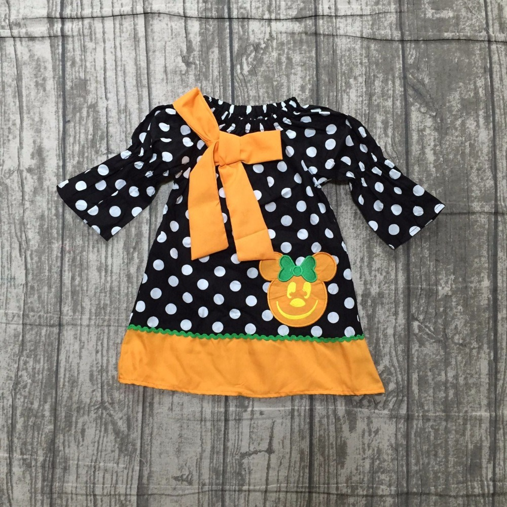 new arrival baby girls Halloween dress children girls polka dot dress with pumpkin dress baby girls boutique Fall/Autumn dress polka dot slit hem contrast dress