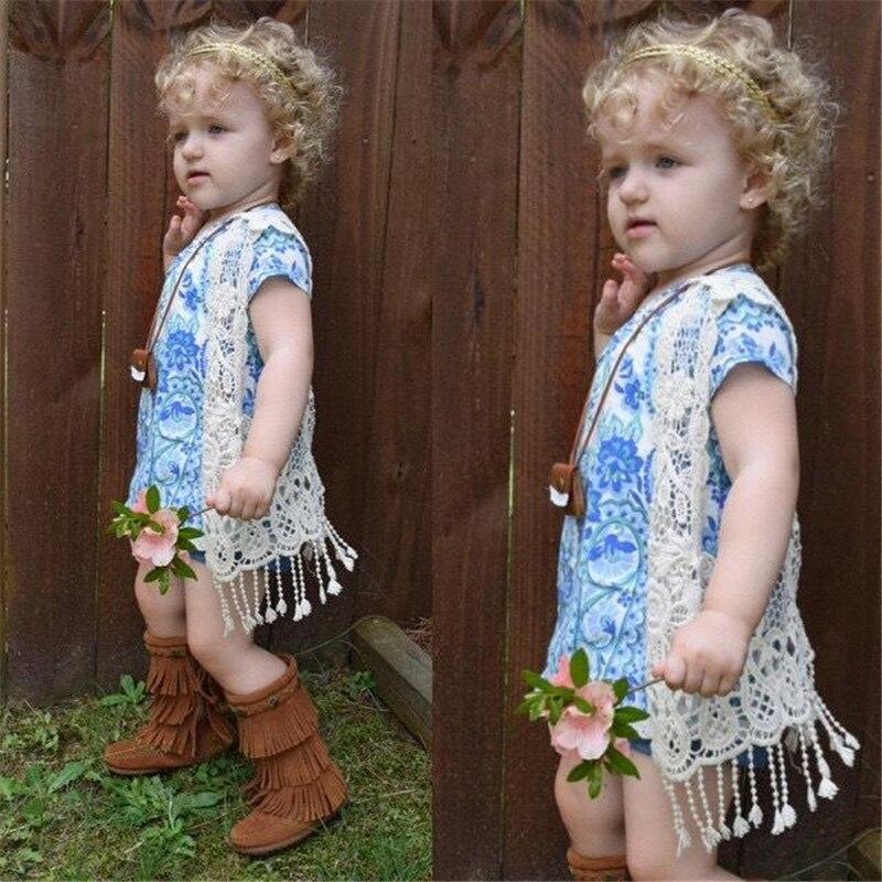 Kleinkind Kinder Baby Mädchen Spitze Häkelarbeit-höhle Heraus Strickjacke Weste Tops Quasten Bluse Weste