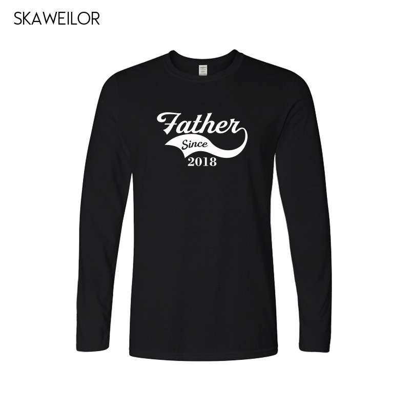Father Since 2018 Print T Shirt Men Fashion Casual Cotton O-Neck Tops Custom Fathers Day T-shirt Dad Since Tees Gift For Dad