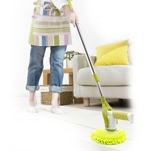 Household Use Electric Charging Cleaning Brush Adjustable 360 Rotating Automatic Cleaning Window Floor Mop Green