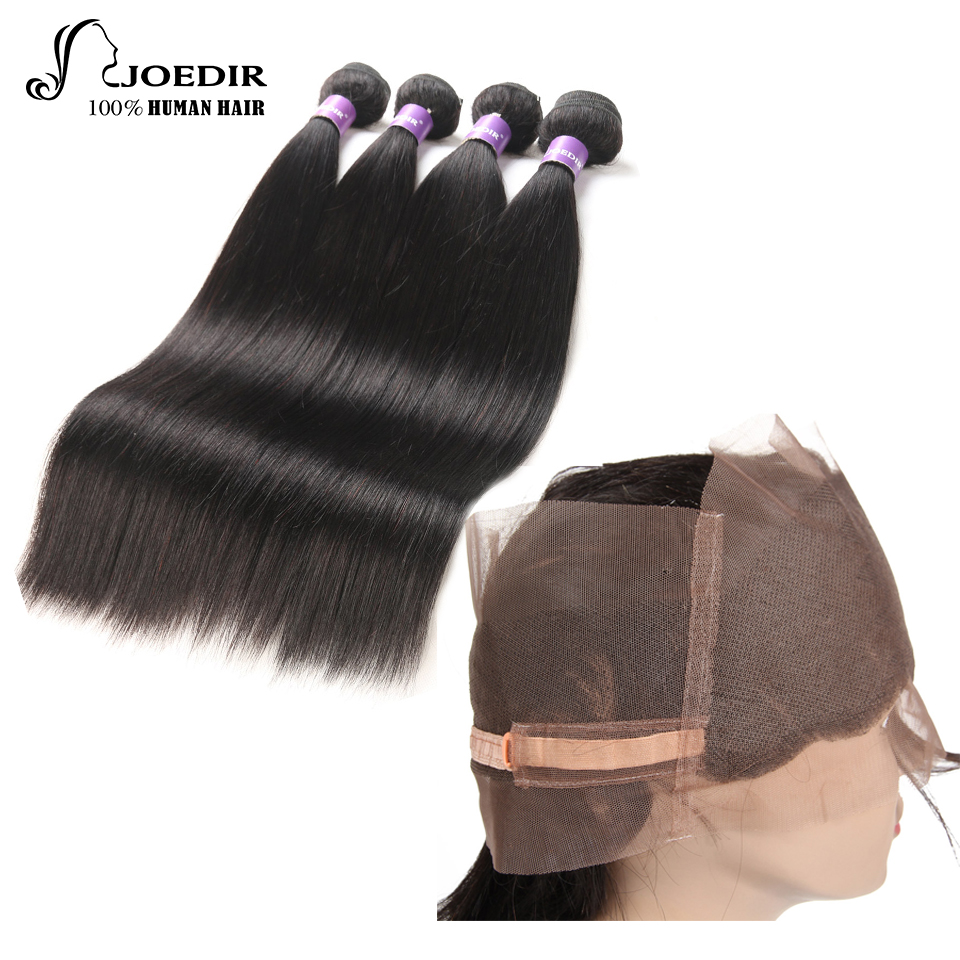 joedir 100% peruvian Human Hair Bundles With 360 Part Closure silky Straight Natural Col ...