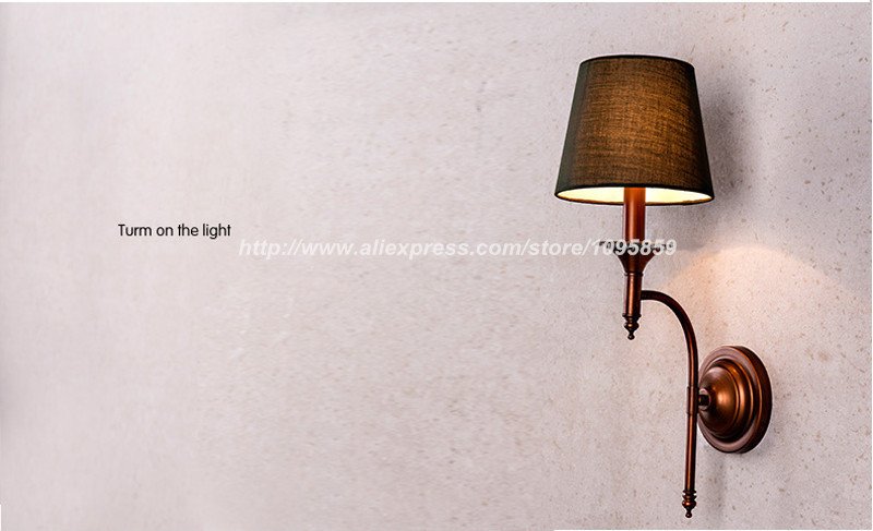 Free Shipping Modern Vintage Retro Copper Color Bedroom Metal Wall Lamps Lights Fixtures Sconces ...