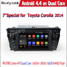 7inch Android4.44 Quad-Core Car DVD player GPS navigator for Toyota Corolla 2014 with HD Screen 1024×600 Free mirror link