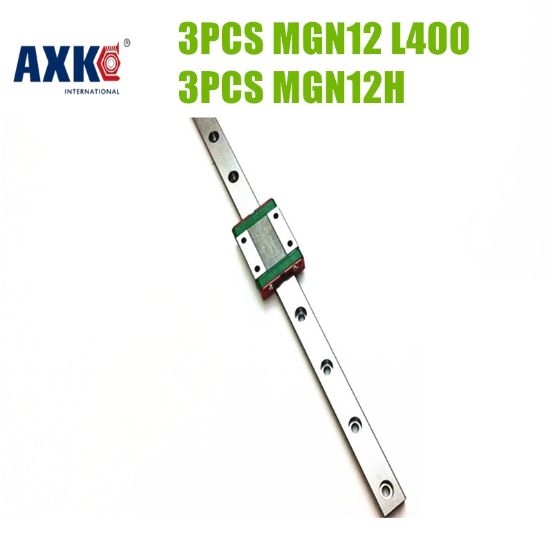 AXK Miniature Linear Rail Slide Set Kit 3pcs MR12 12MM MGN12 400mm Length With 3pcs Linear Carriages Block MGN12H Length Block axk mr12 miniature linear guide mgn12 long 400mm with a mgn12h length block for cnc parts free shipping