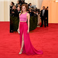 Glamorous Pink Cropped Top Hot Pink Maxi Skirt Emma Stone Red Carpet Celebrity Dresses 2017 Formal Two Piece Oscar Awards Gowns