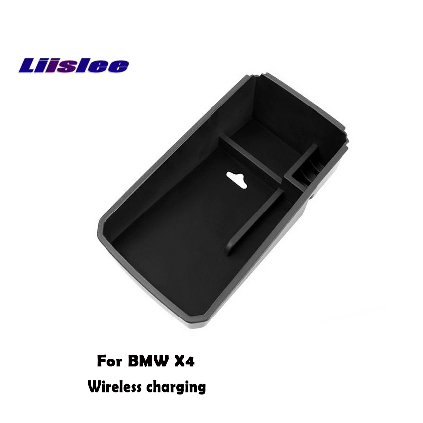 Liislee For BMW X4 F26 G02 Handrail box storage box Car wireless charging Wireless charging central control storage Car Charger for volkswagen teramont 2017 2018 car mount qi wireless charger car central storage box phone wireless charger fast charging