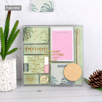 NEVER tropical vibes Stationery set bts gift Stationery stationary Paper clips binder clip pen memo pad office Accessories 2018