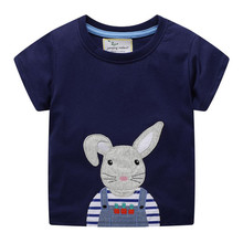 Cute Rabbit Printed Cartoon T shirt Tops Summer Baby Boys T shirt Children Summer Clothes Cotton Baby Tees for Boys цена 2017
