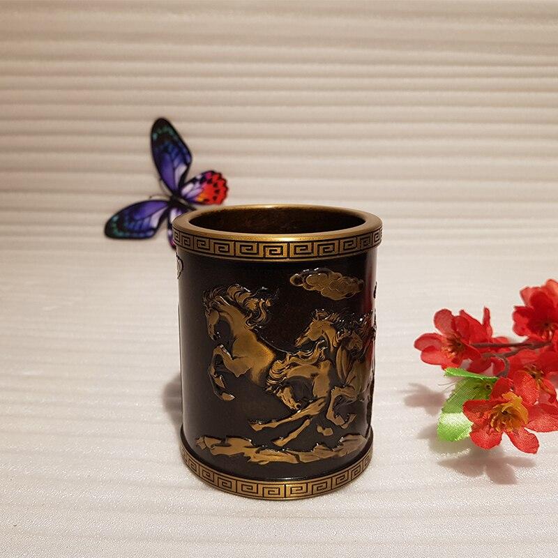 Vintage Chinese style bronze pen holder (8)