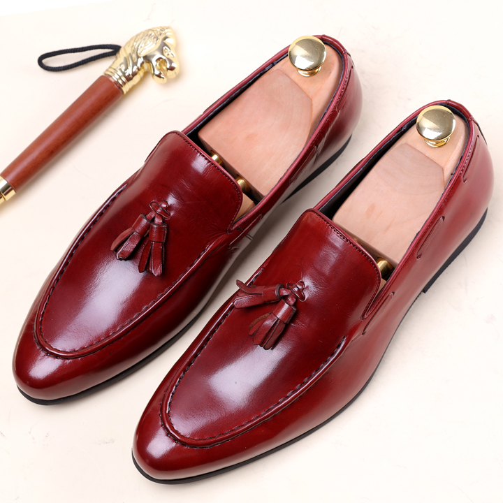 Red Black Tassels Fashion Man Wedding Slip On Leather Oxfords Shoes Spring Autumn Male Dress Design Office Suits Tuxedo Oxfords ch kwok crocodile leather mens dress wedding oxfords slip on male business suits tuxedo oxfords spring autumn man derby shoes