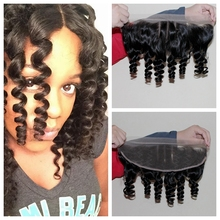 Virgin Brazilian Ear To Ear Full Lace Frontal Closure With Baby Hair Human Bouncy Aunty Funmi Curl Hair 13×4 Bleached Knots