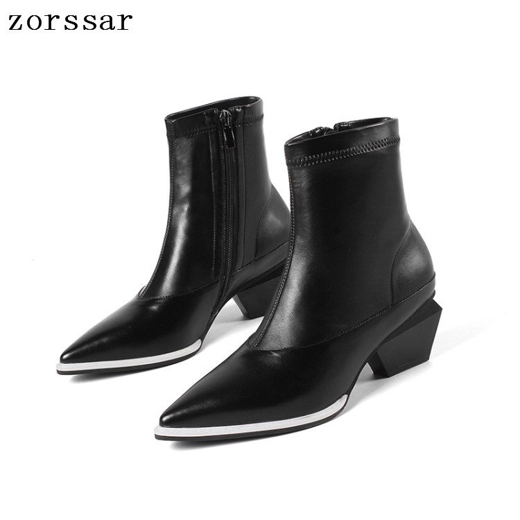 {Zorssar} fashion young female booties soft leather Pointed toe high heels women ankle boots winter fur woman shoes White black цены онлайн