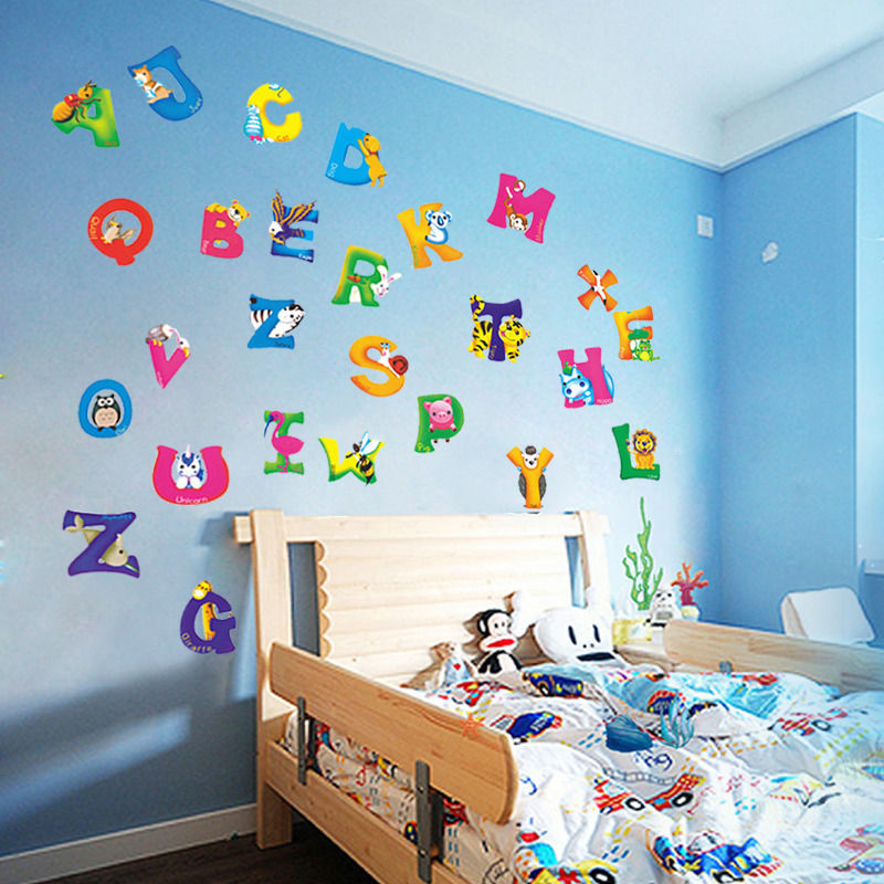 42x23cm A Z Alphabet Animals Home Decoration Letters English Vinyl Mural Wall Stickers Decals Nursery Kids Room Decor For In From