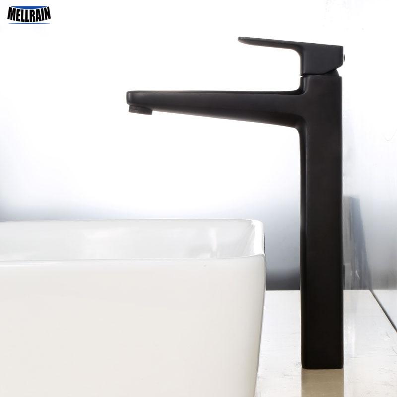High Quality Black Electroplate Basin Mixer Brass Material Deck Mount High Bathroom Faucet New Pattern Water Mixer Countertop